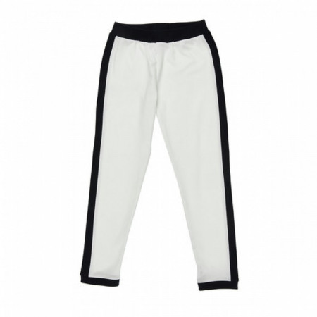 Girl's Black Stripe Detail White Pants