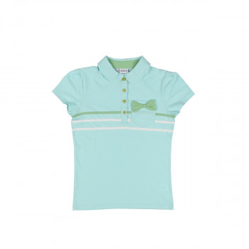 Girl's Striped Bow-tie Detail Mint Green Polo T-shirt