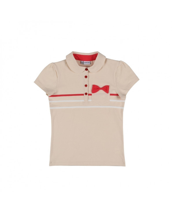 Girl's Bow-tie Powder Rose Polo T-shirt