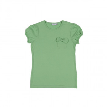 Girl's Bow-tie Detail Almond Green T-shirt