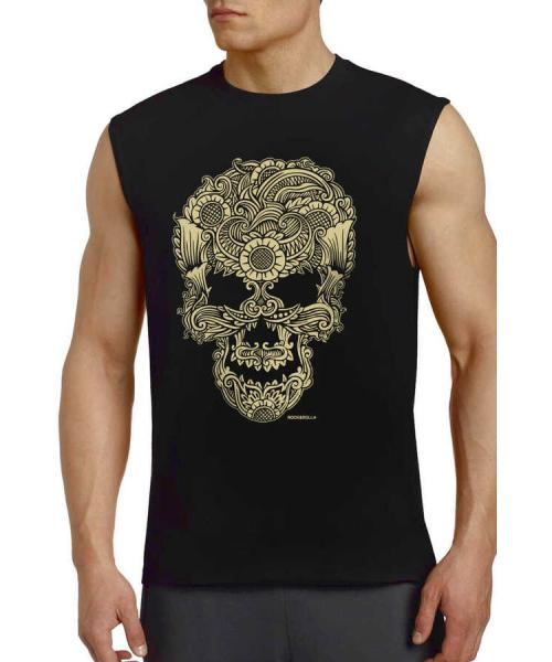 Men's Printed Black Sleeveless T-shirt