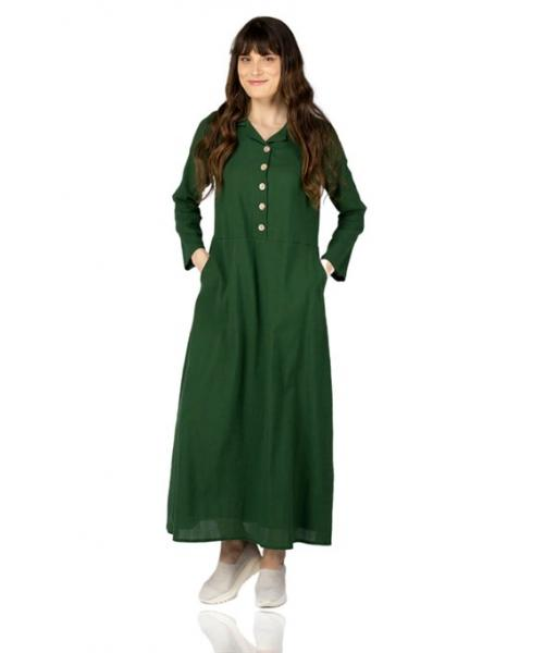 Women's Button Collar Pocket Green Long Dress