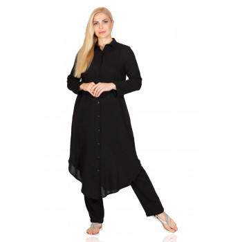 Women's Button Black Tunic
