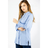 Women's Crew Neck Blue Tunic