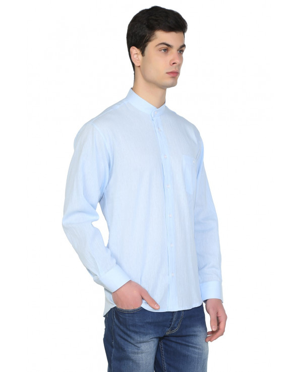 Men's Crew Neck Long Sleeves Ice Blue Shirt
