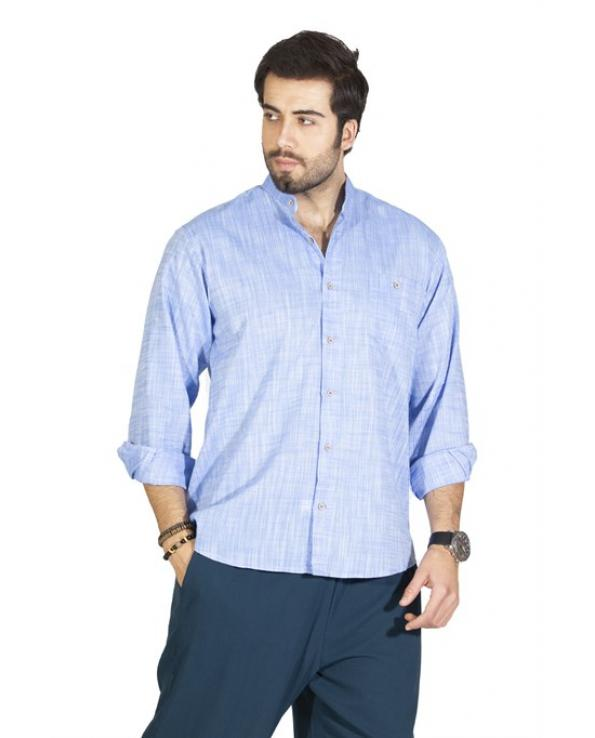 Men's Crew Neck Long Sleeves Blue Shirt