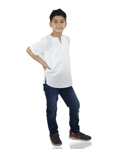 Boy's Short Sleeves White T-shirt