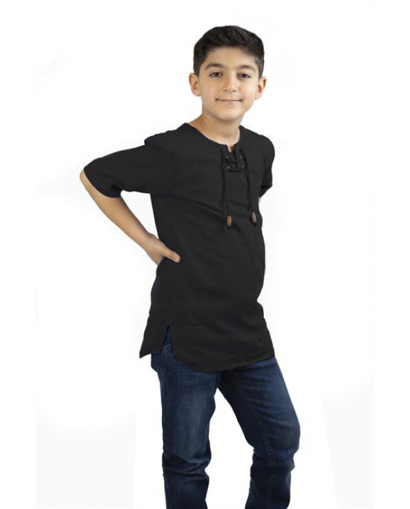 Boy's Lace-up Collar Black T-shirt