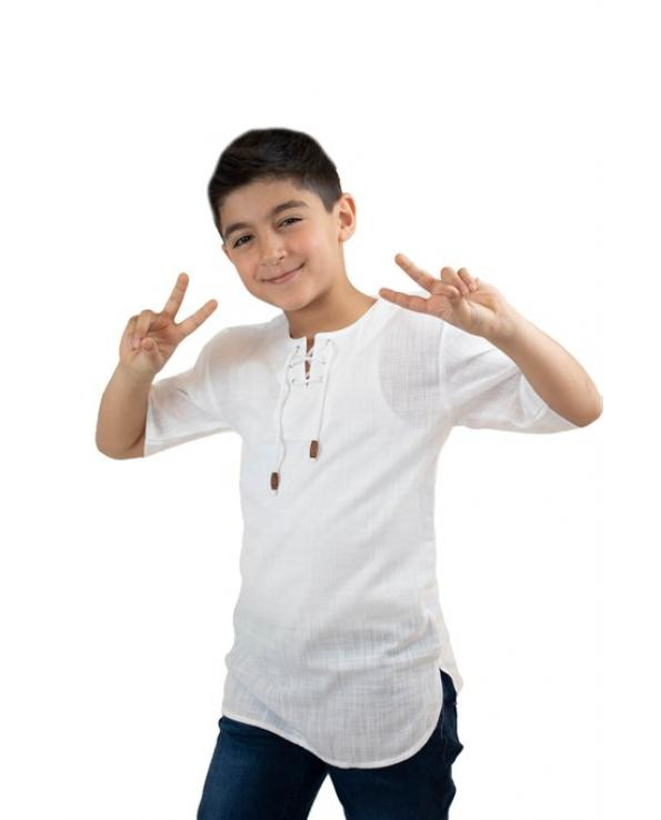 Kid's Lace-up Collar White T-shirt