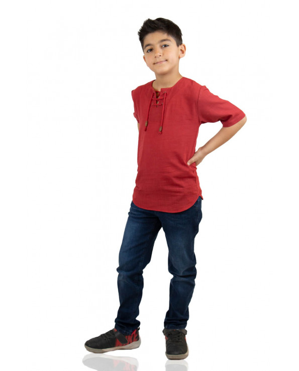 Boy's Short Sleeves Claret Red T-shirt