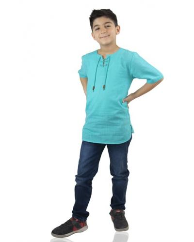 Boy's Lace-up Collar Turquoise T-shirt