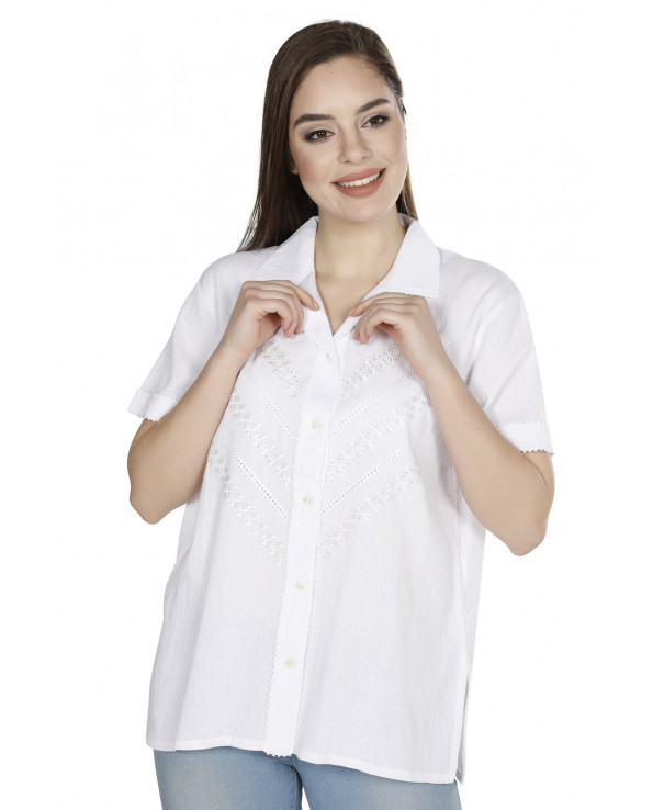 Women's Short Sleeves White Blouse