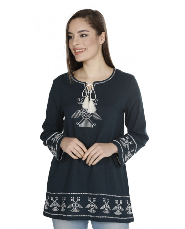 Women's Embroidered Petrol Blouse