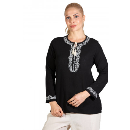 Women's Long Sleeves Black Blouse
