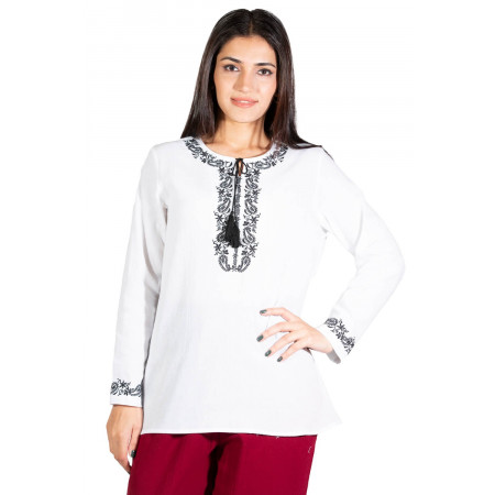 Women's Long Sleeves White Blouse