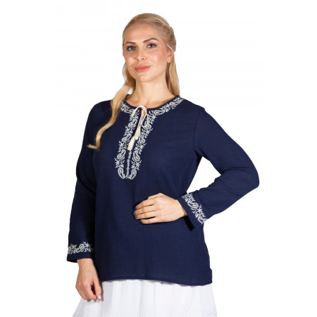 Women's Long Sleeves Navy Blue Blouse