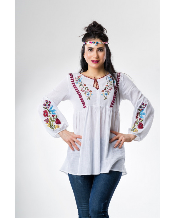 Women's Embroidered White Blouse