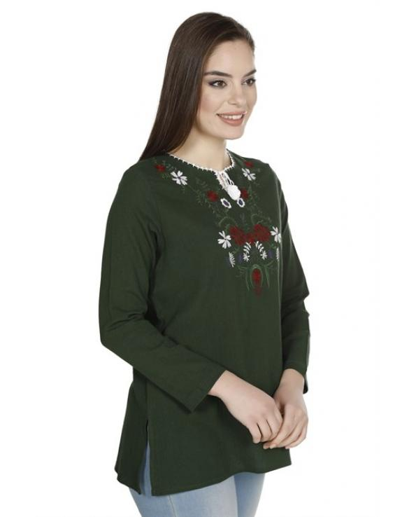 Women's Embroidered Green Blouse