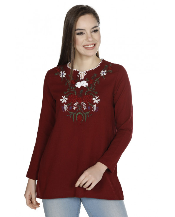 Women's Embroidered Claret Red Blouse