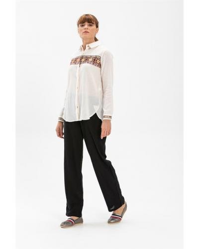 Women's Embroidered Cream Blouse