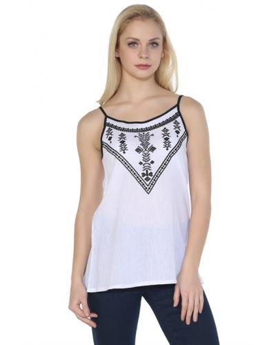 Women's Strappy Embroidered White Blouse
