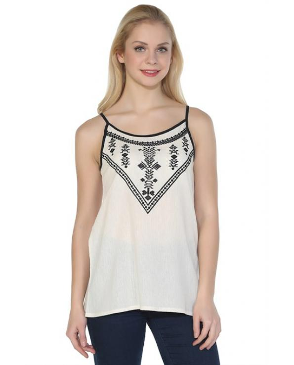Women's Strappy Embroidered Cream Blouse