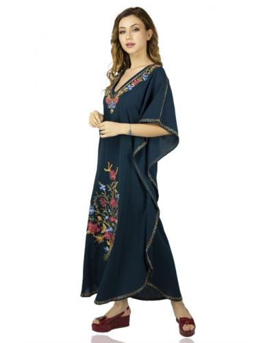 Women's Embroidered Petrol Long Dress