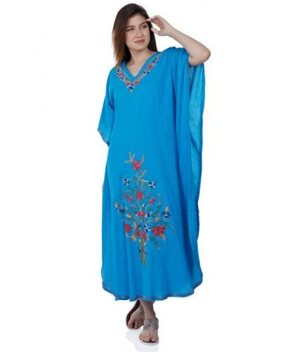 Women's Embroidered Turquoise Long Dress