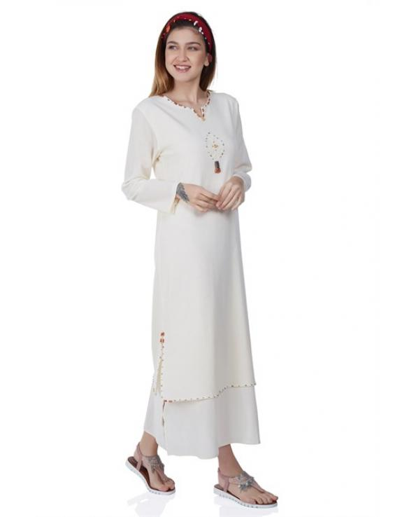 Women's Long Sleeves Beaded Cream Midi Dress