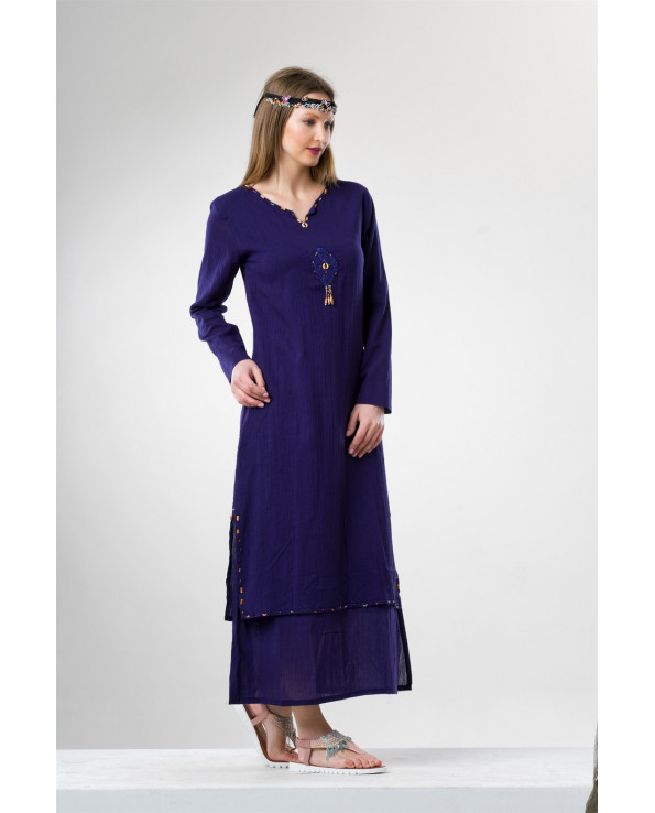 Women's Long Sleeves Beaded Purple Midi Dress