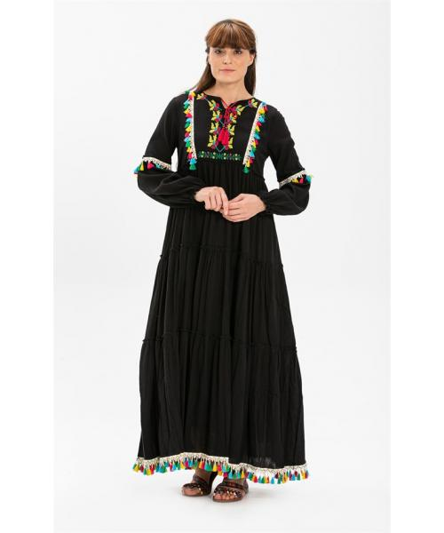 Women's Embroidered Black Long Dress