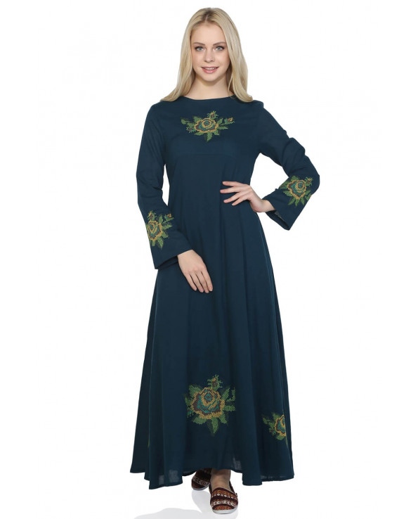 Women's Long Sleeves Petrol Long Dress