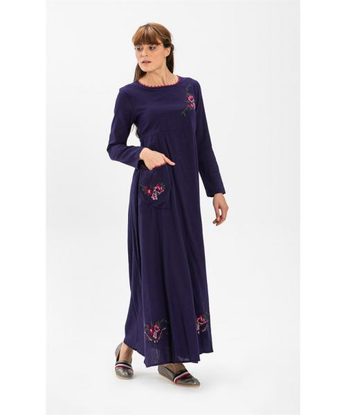 Women's Long Sleeves Purple Long Dress
