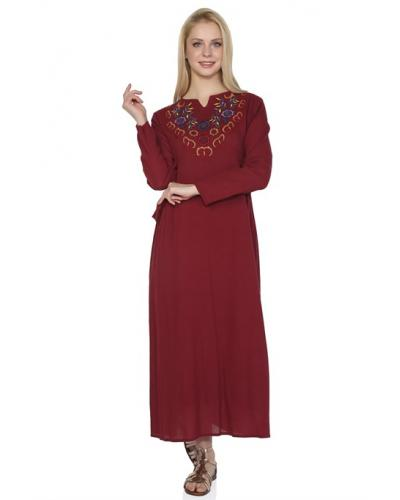 Women's Long Sleeves Claret Red Midi Dress