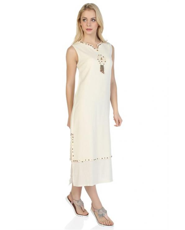 Women's Sleeveless Beaded Cream Midi Dress
