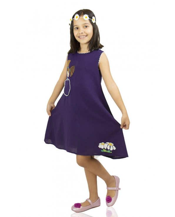 Girl's Embroidered Purple Short Dress