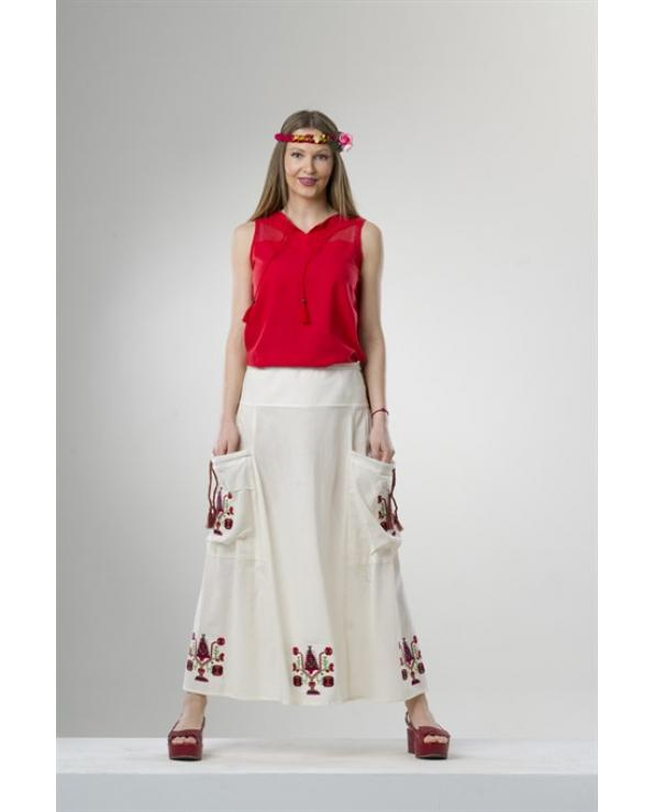 Women's Cream Long Skirt