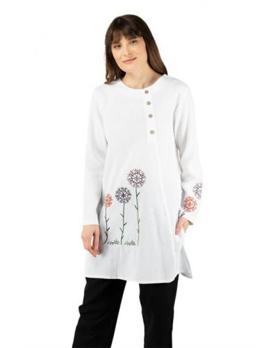 Women's Embroidered White Tunic