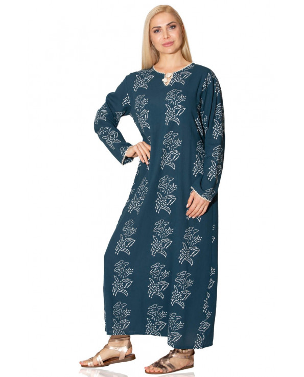 Women's Long Sleeves Patterned Midi Dress