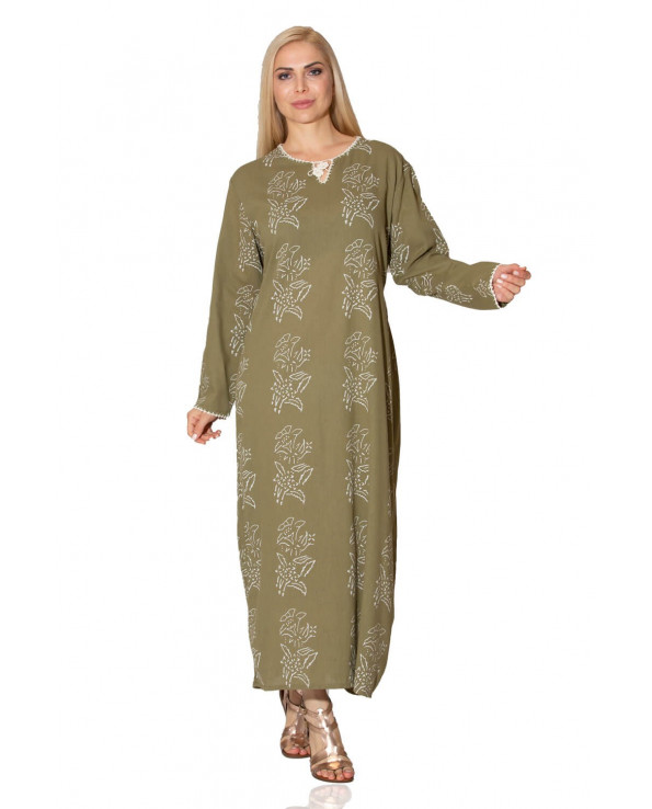 Women's Print Pattern Khaki Long Dress