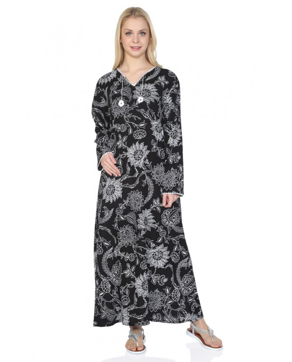 Women's Long Sleeves Patterned Black Long Dress
