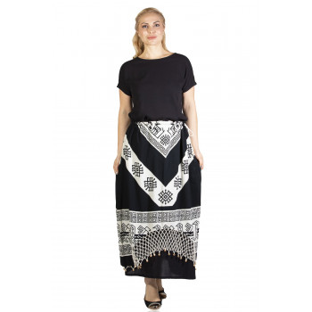 Women's Patterned Black Long Skirt