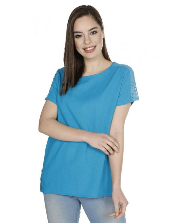 Women's Short Sleeves Turquoise Blouse