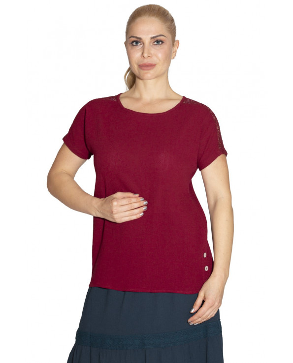 Women's Short Sleeves Claret Red Blouse