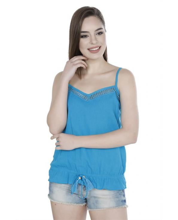 Women's Strappy Turquoise Blouse