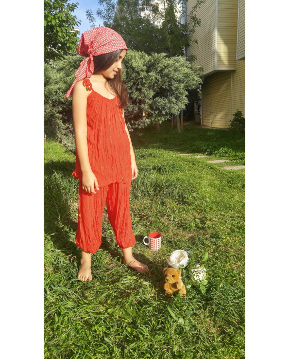 Girl's Crumple Red Blouse Pants Set
