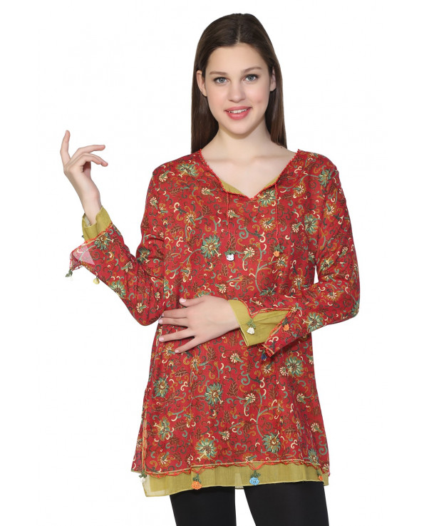 Women's Floral Pattern Red Blouse