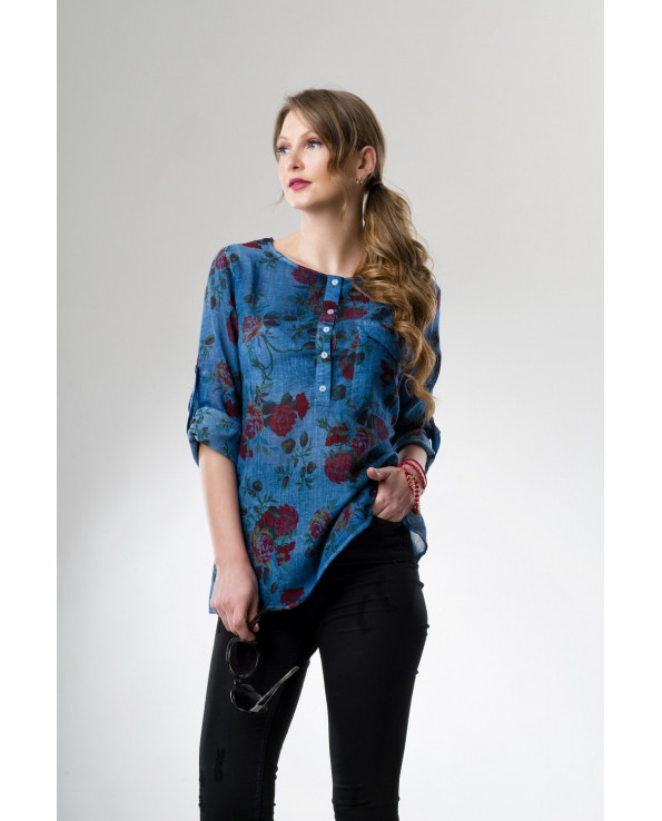 Women's Patterned Indigo Blouse