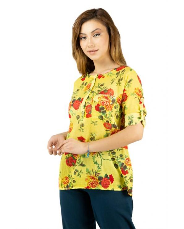 Women's Patterned Yellow Blouse