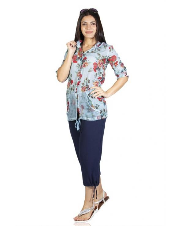 Women's Hooded Patterned Ice Blue Blouse